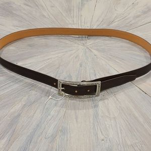 NEW Olsen brown leather belt with blingy buckle